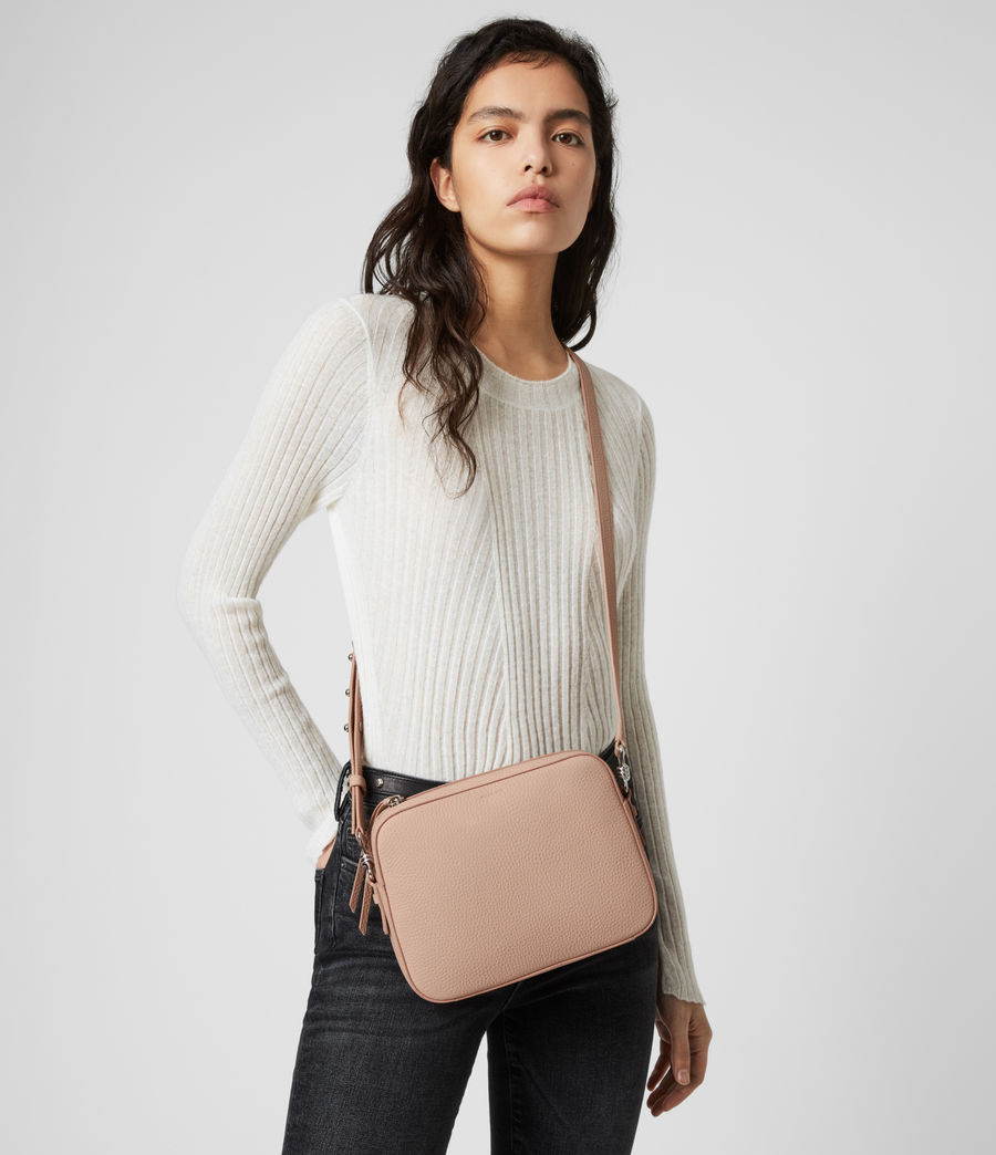 Womens Captain Lea Leather Square Crossbody Bag (nude_pink) - Image 2