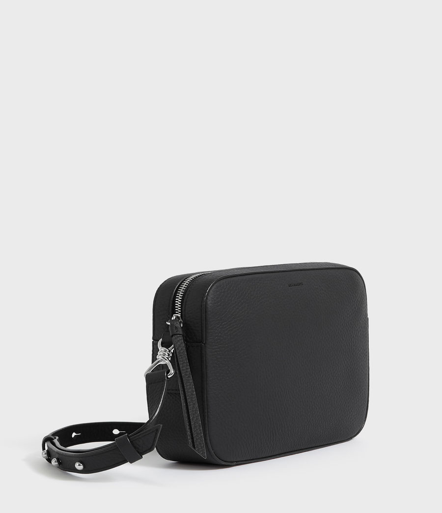 Women's Captain Lea Leather Square Crossbody Bag (black) - Image 3