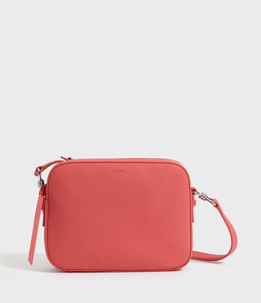 Women's Captain Lea Leather Square Crossbody Bag (coral_pink) - Image 1