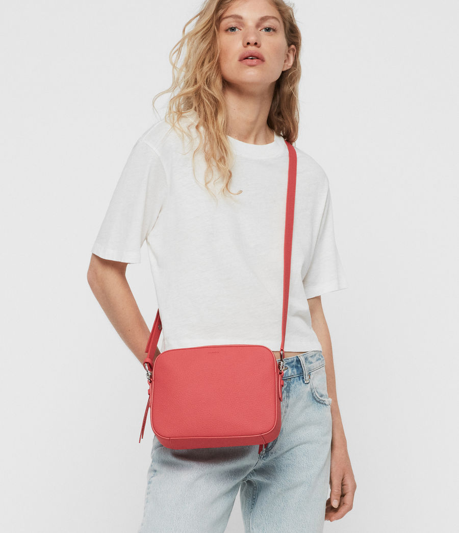 Women's Captain Lea Leather Square Crossbody Bag (coral_pink) - Image 2