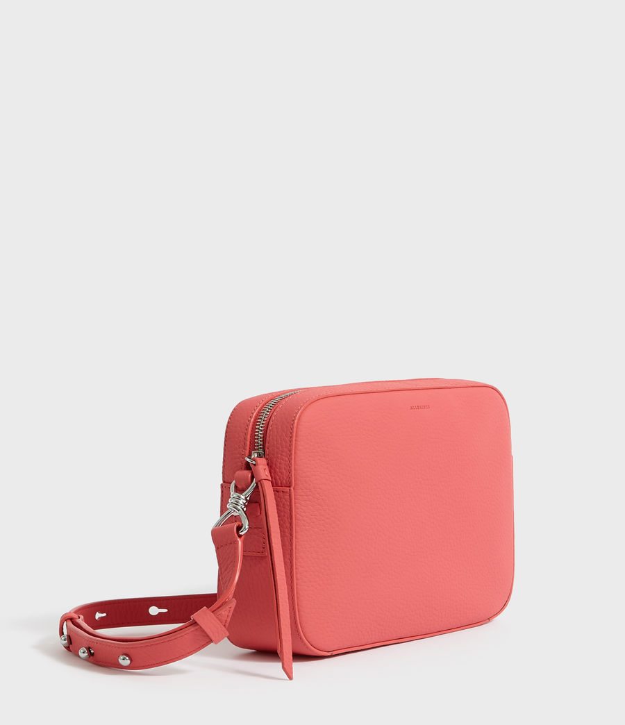 Women's Captain Lea Leather Square Crossbody Bag (coral_pink) - Image 3