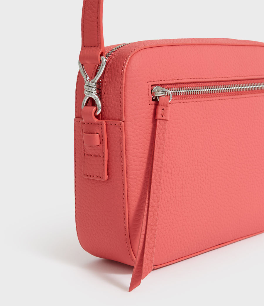 Women's Captain Lea Leather Square Crossbody Bag (coral_pink) - Image 4