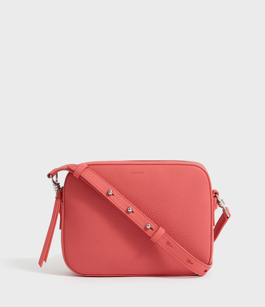 Women's Captain Lea Leather Square Crossbody Bag (coral_pink) - Image 6