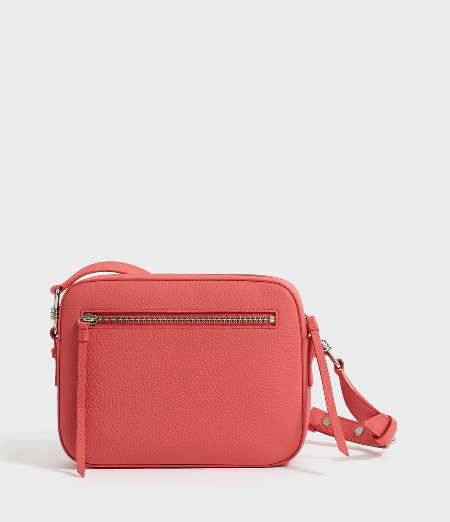 Women's Captain Lea Leather Square Crossbody Bag (coral_pink) - Image 7