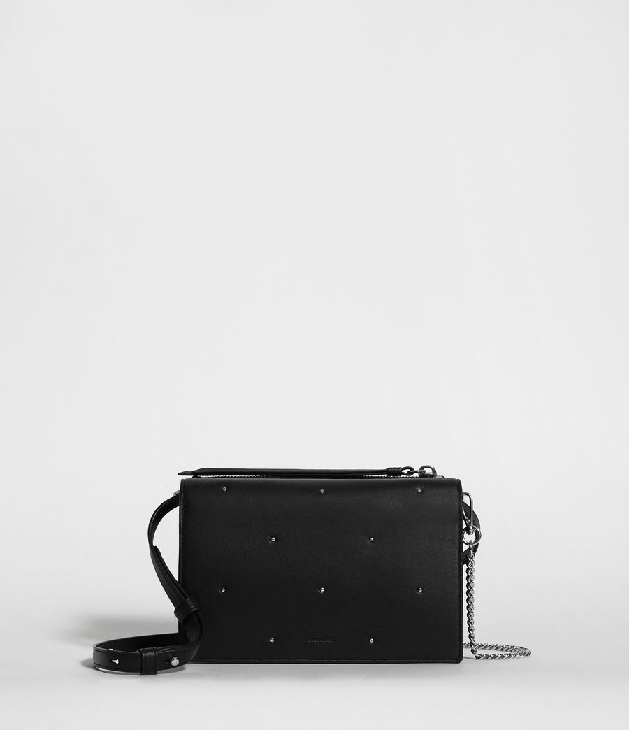 Womens Kathi Leather Chain Wallet Crossbody Bag (black) - Image 1