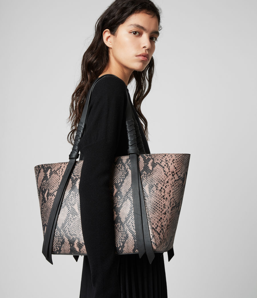 Womens Kepi Small East West Leather Tote Bag (snake_pink) - Image 2