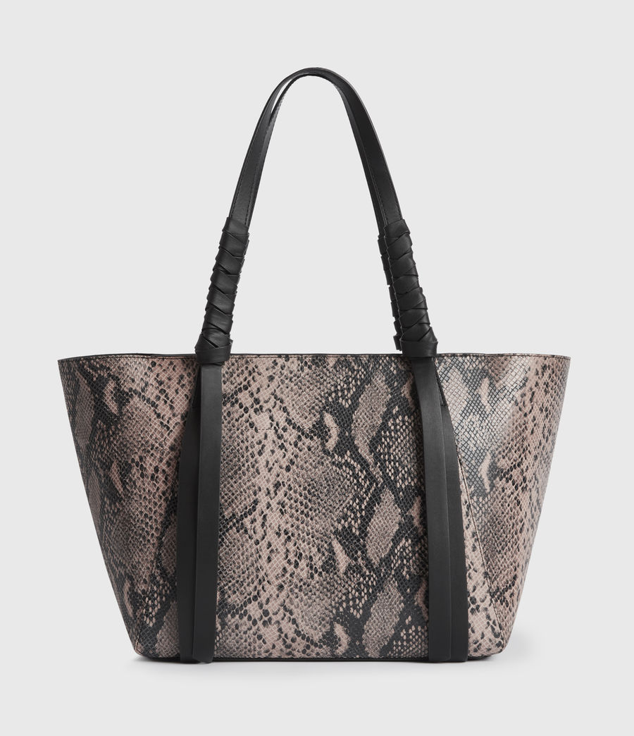 Women's Kepi Small East West Leather Tote Bag (snake_pink) - Image 7