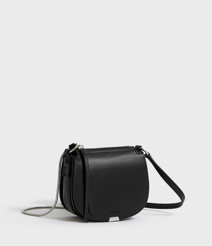 Womens Captain Leather Mini Round Crossbody Bag (black) - Image 2