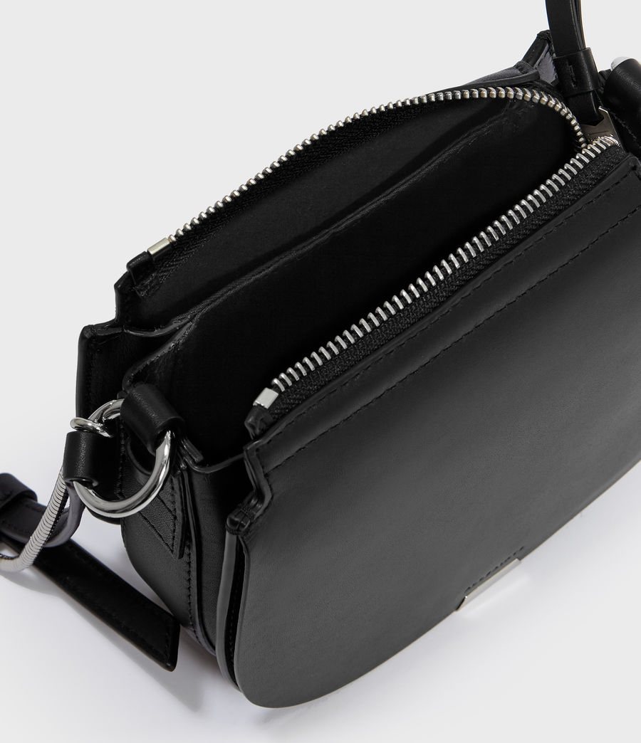 Womens Captain Leather Mini Round Crossbody Bag (black) - Image 3