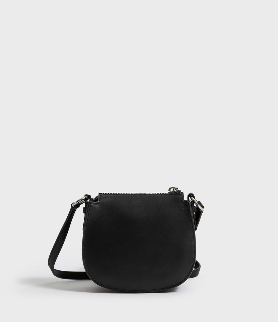 Womens Captain Leather Mini Round Crossbody Bag (black) - Image 7