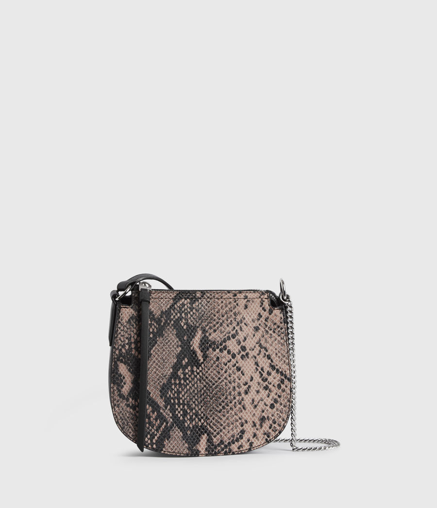 Womens Ely Small Round Leather Crossbody Bag (snake_pink) - Image 1