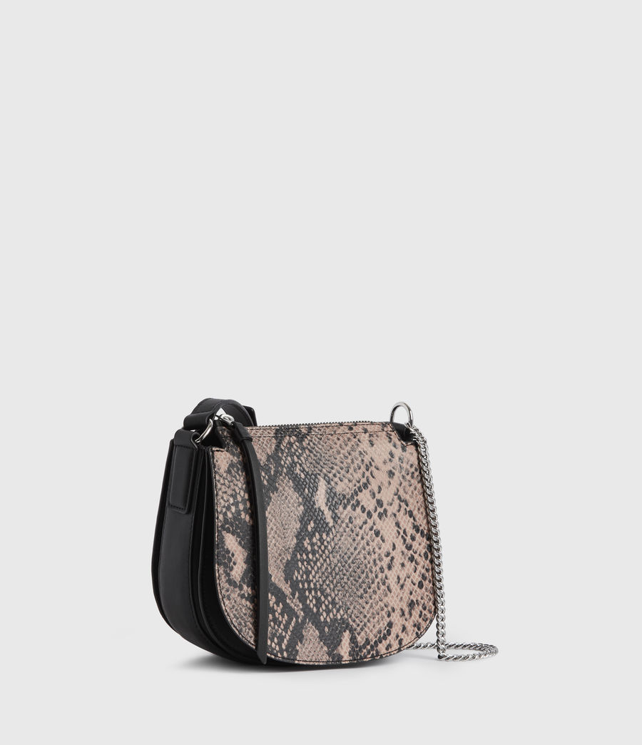 Womens Ely Small Round Leather Crossbody Bag (snake_pink) - Image 3