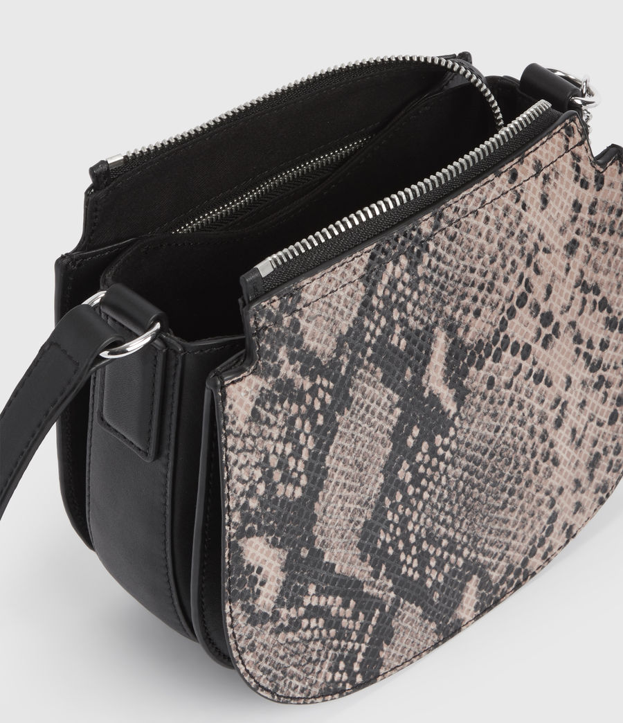 Womens Ely Small Round Leather Crossbody Bag (snake_pink) - Image 4