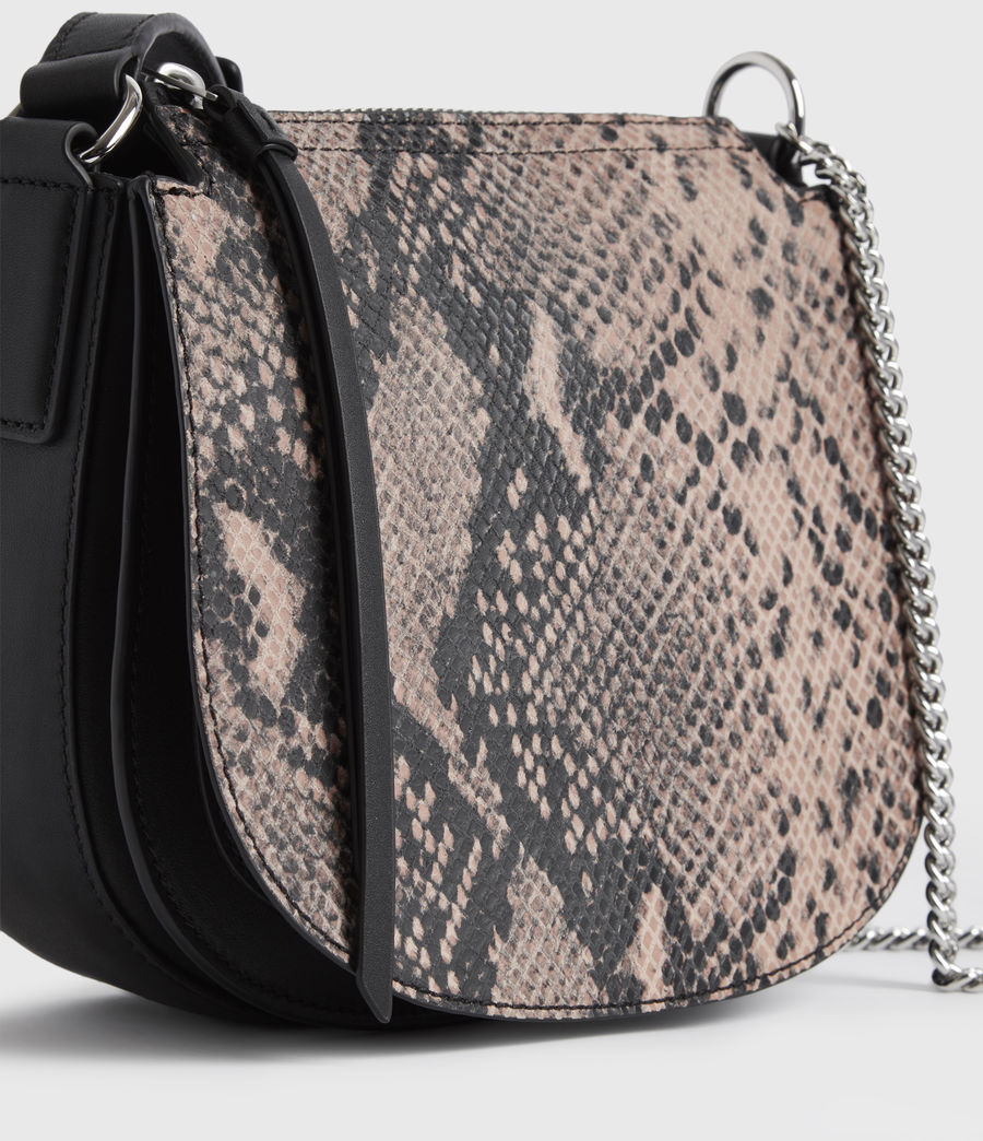Womens Ely Small Round Leather Crossbody Bag (snake_pink) - Image 6