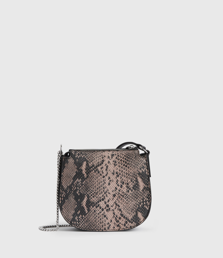 Womens Ely Small Round Leather Crossbody Bag (snake_pink) - Image 8