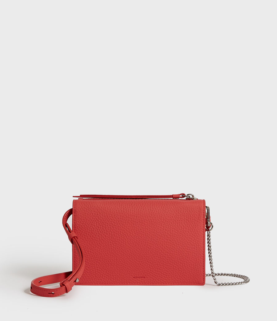Donne Fetch Leather Chain Wallet Crossbody Bag (coral_pink) - Image 1