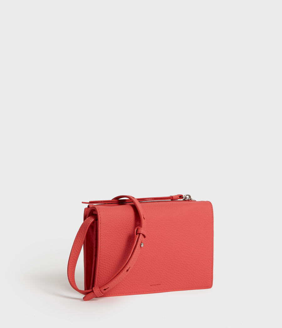 Donne Fetch Leather Chain Wallet Crossbody Bag (coral_pink) - Image 3