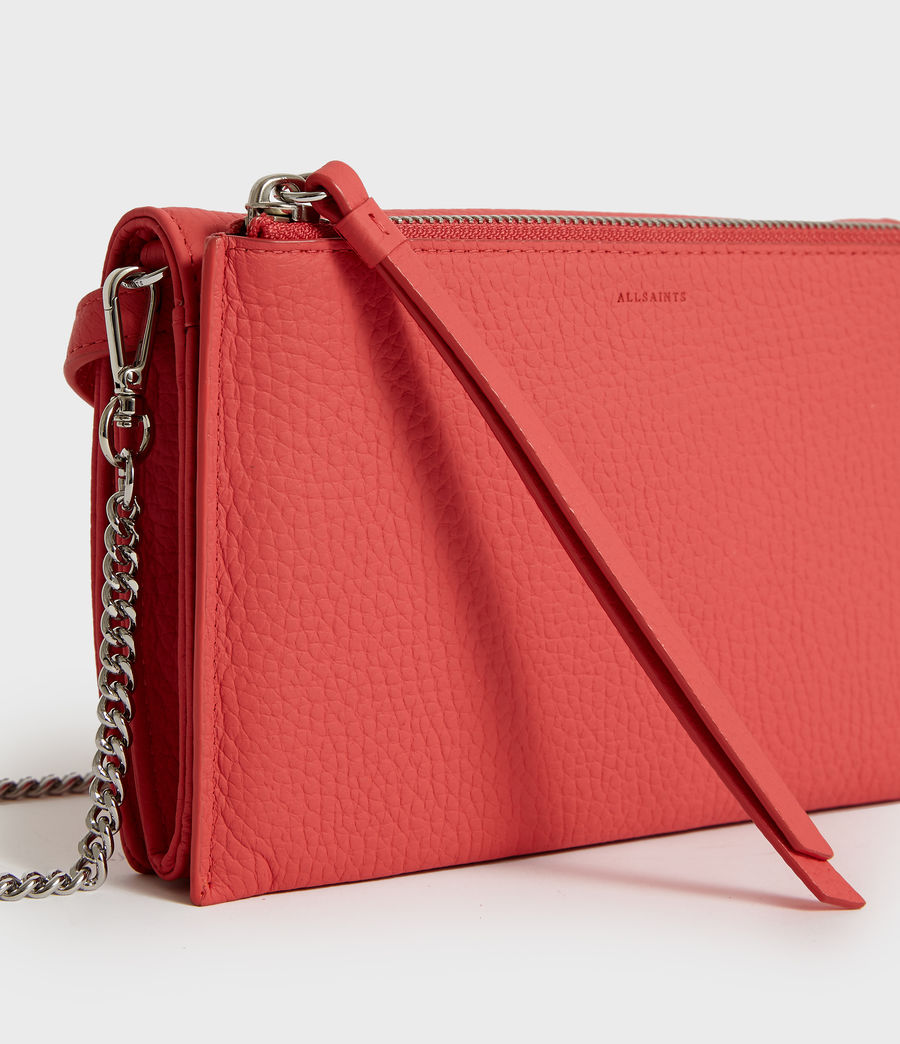 Women's Fetch Leather Chain Wallet Crossbody Bag (coral_pink) - Image 3