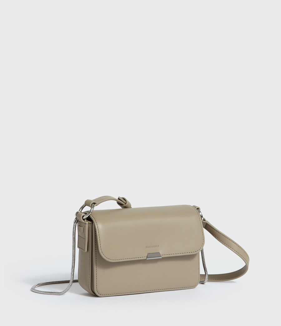 Womens Captain Leather Mini Flap Crossbody Bag (dune) - Image 2