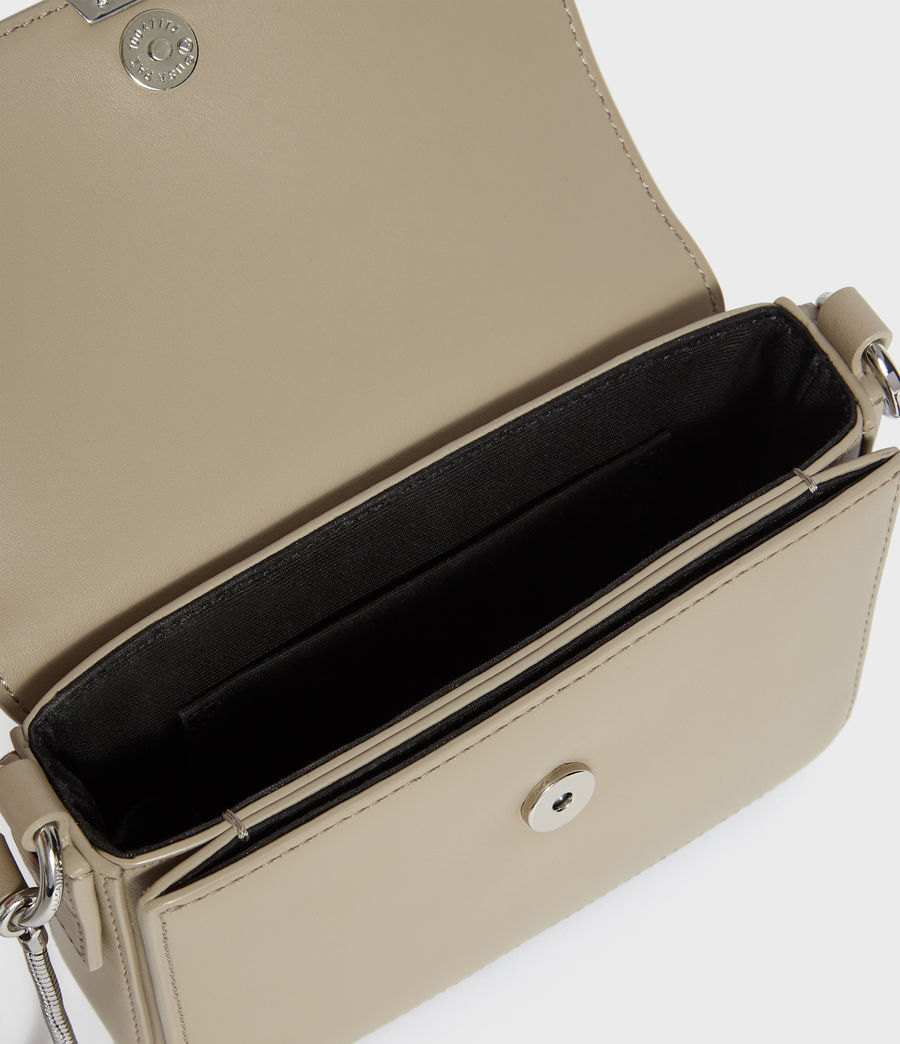 Womens Captain Leather Mini Flap Crossbody Bag (dune) - Image 3