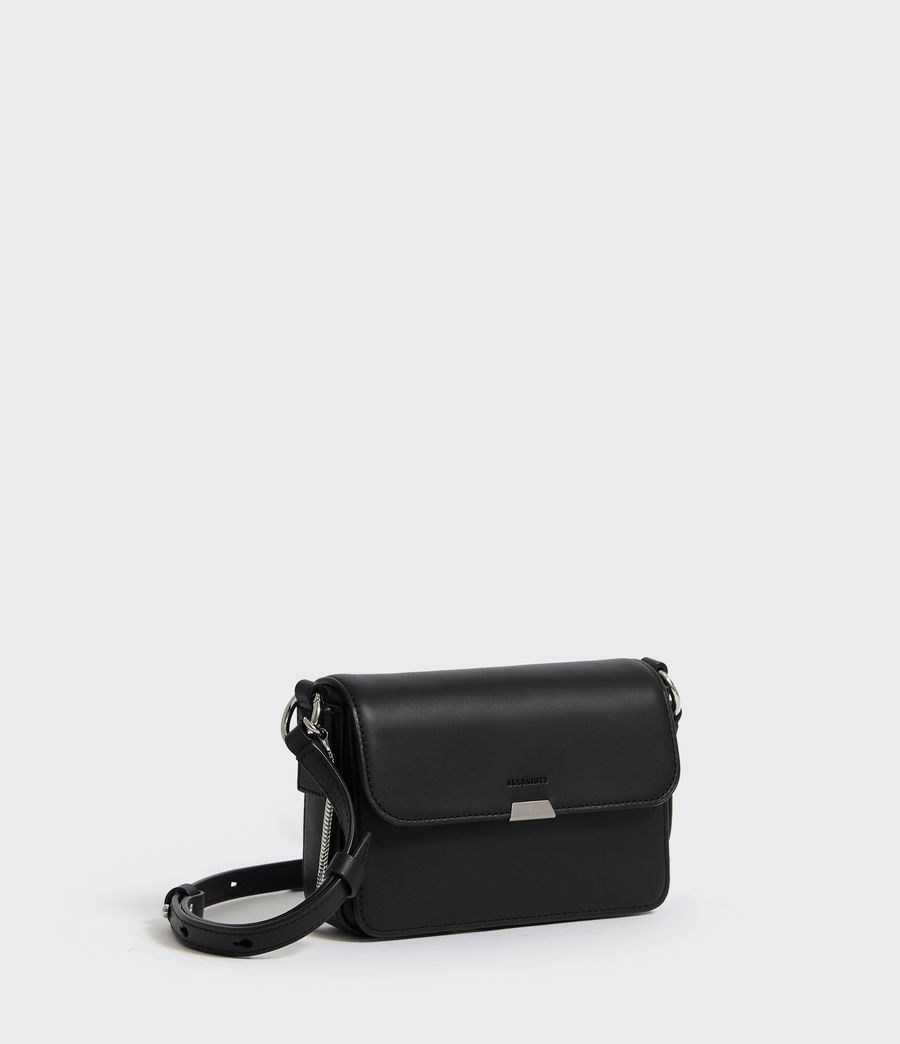 Womens Captain Leather Mini Flap Crossbody Bag (black) - Image 3