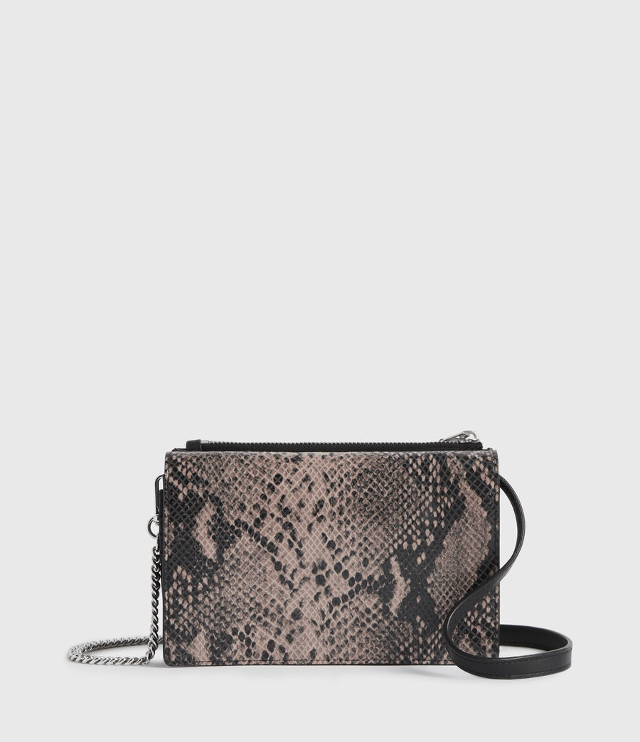 Womens Fetch Chain Leather Crossbody Bag (snake_pink) - Image 1
