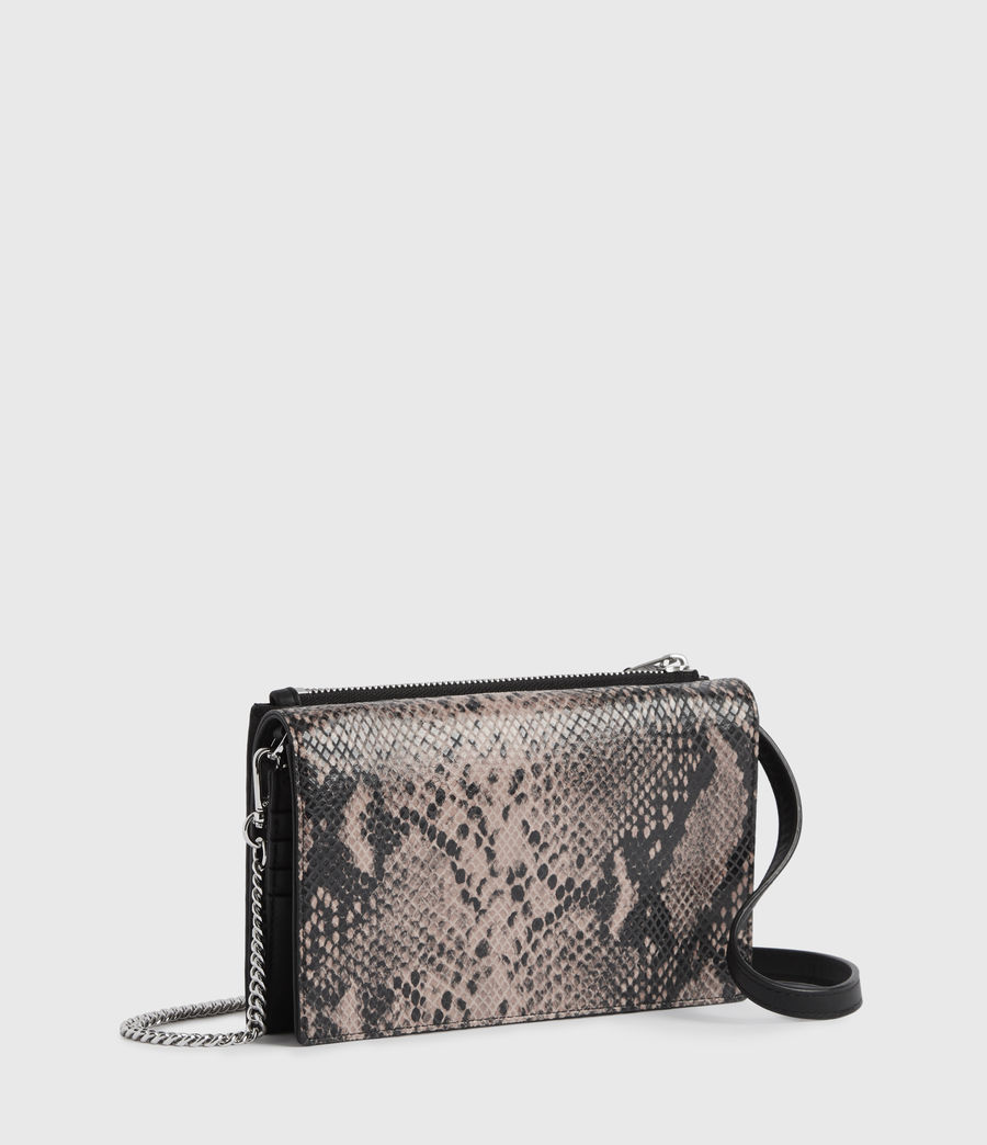 Womens Fetch Chain Leather Crossbody Bag (snake_pink) - Image 3