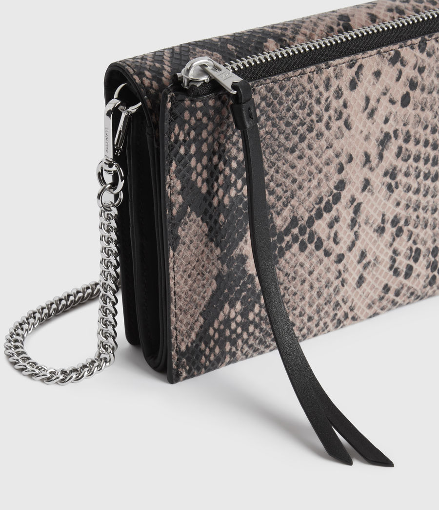 Womens Fetch Chain Leather Crossbody Bag (snake_pink) - Image 5