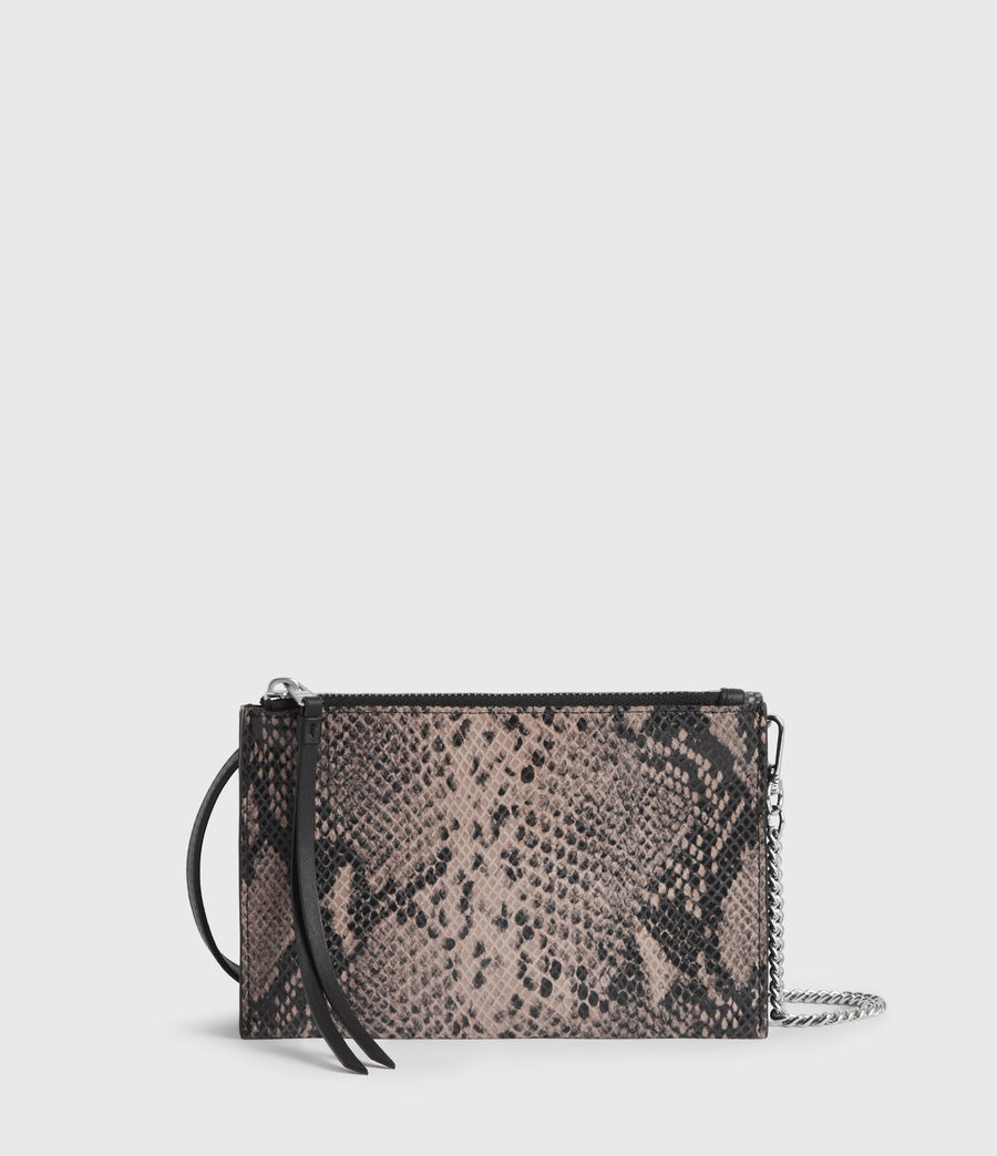 Womens Fetch Chain Leather Crossbody Bag (snake_pink) - Image 6