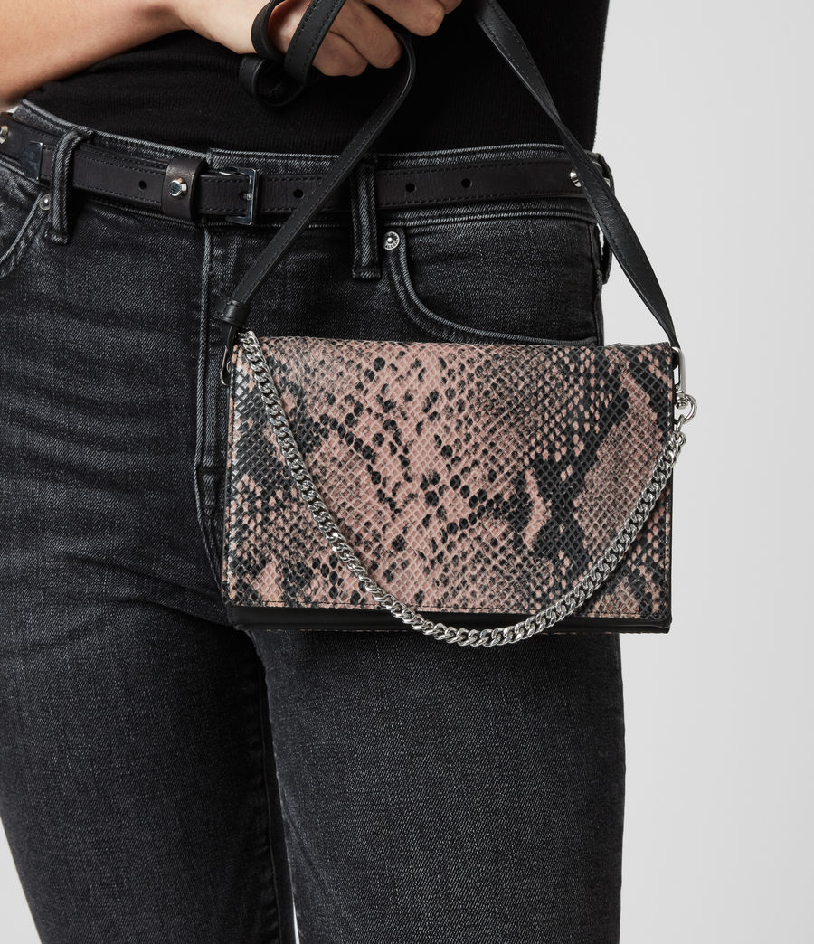 Womens Fetch Chain Leather Crossbody Bag (snake_pink) - Image 7