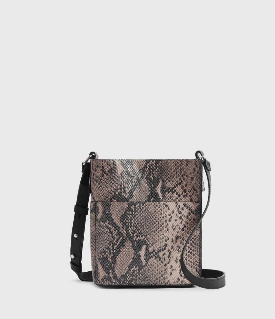 Womens Adelina Small North South Leather Tote Bag (snake_pink) - Image 2