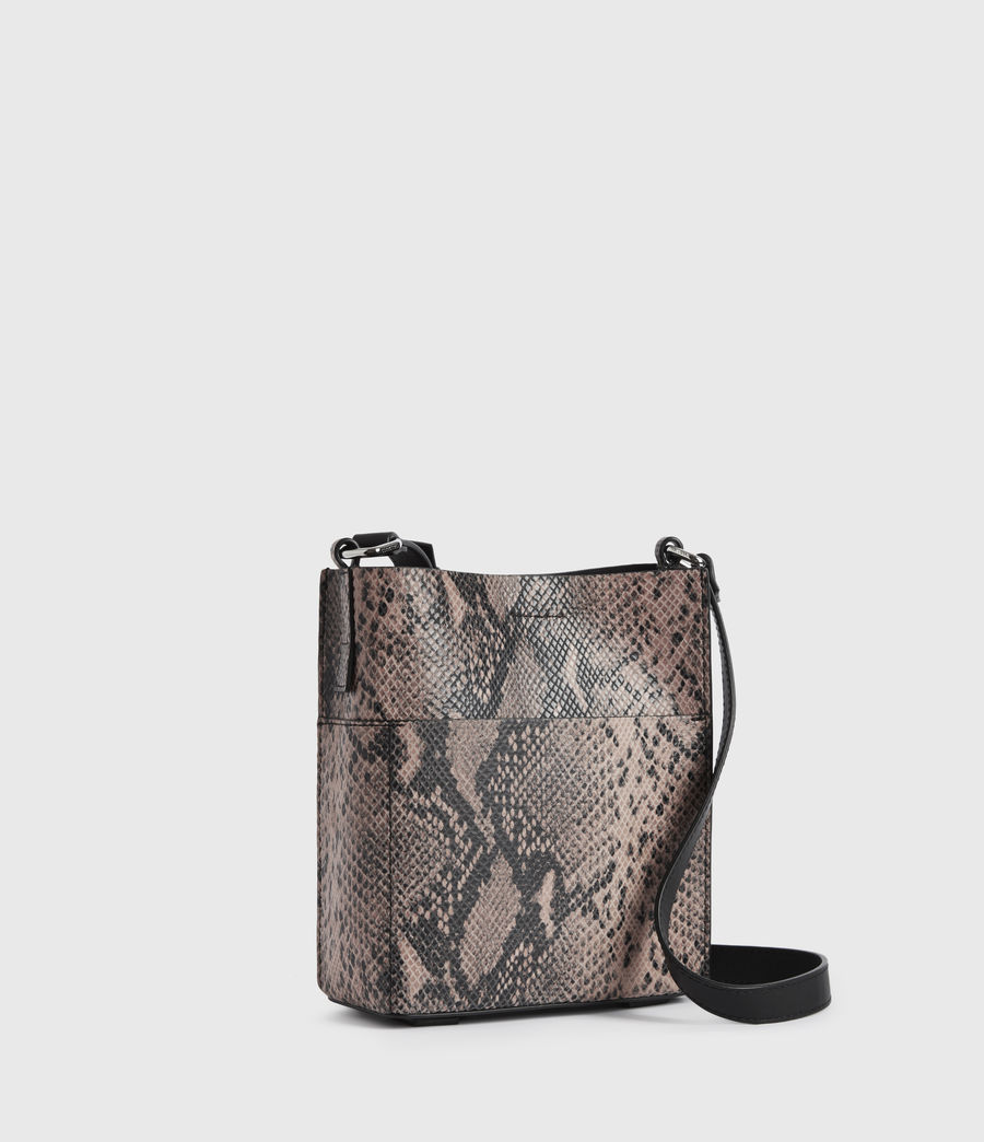 Womens Adelina Small North South Leather Tote Bag (snake_pink) - Image 3