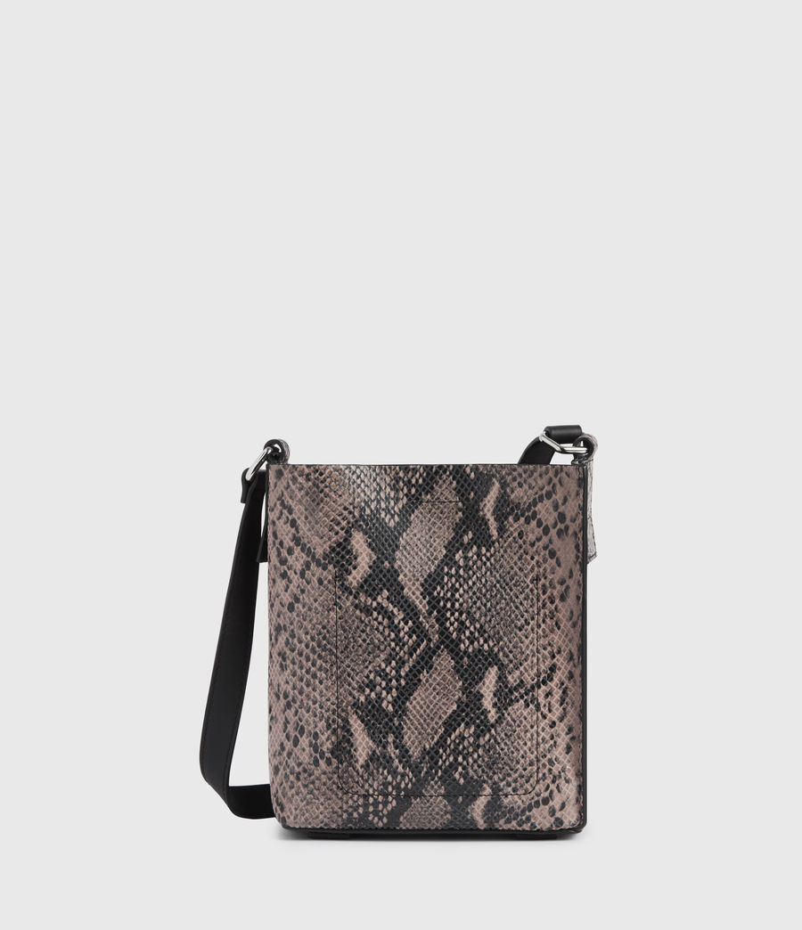 Womens Adelina Small North South Leather Tote Bag (snake_pink) - Image 7
