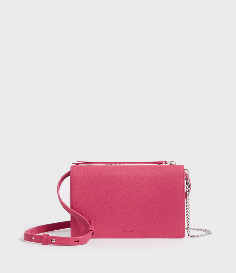 Womens Fetch Leather Chain Wallet Crossbody Bag (fuschia_pink) - Image 1