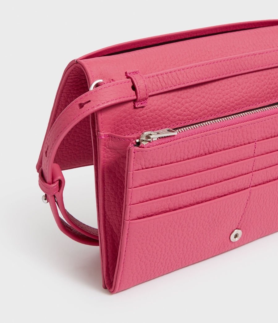 Womens Fetch Leather Chain Wallet Crossbody Bag (fuschia_pink) - Image 2