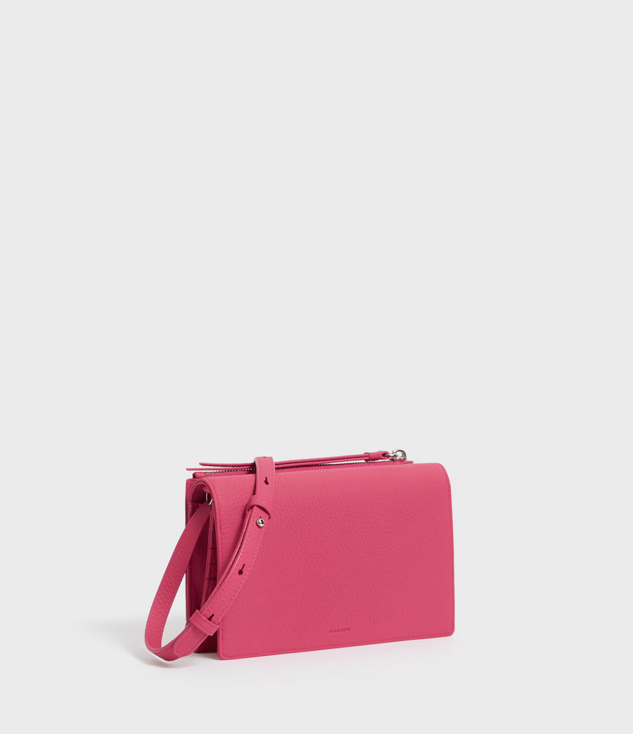 Womens Fetch Leather Chain Wallet Crossbody Bag (fuschia_pink) - Image 3