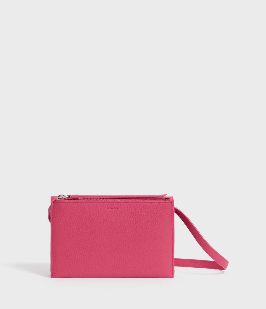 Womens Fetch Leather Chain Wallet Crossbody Bag (fuschia_pink) - Image 5