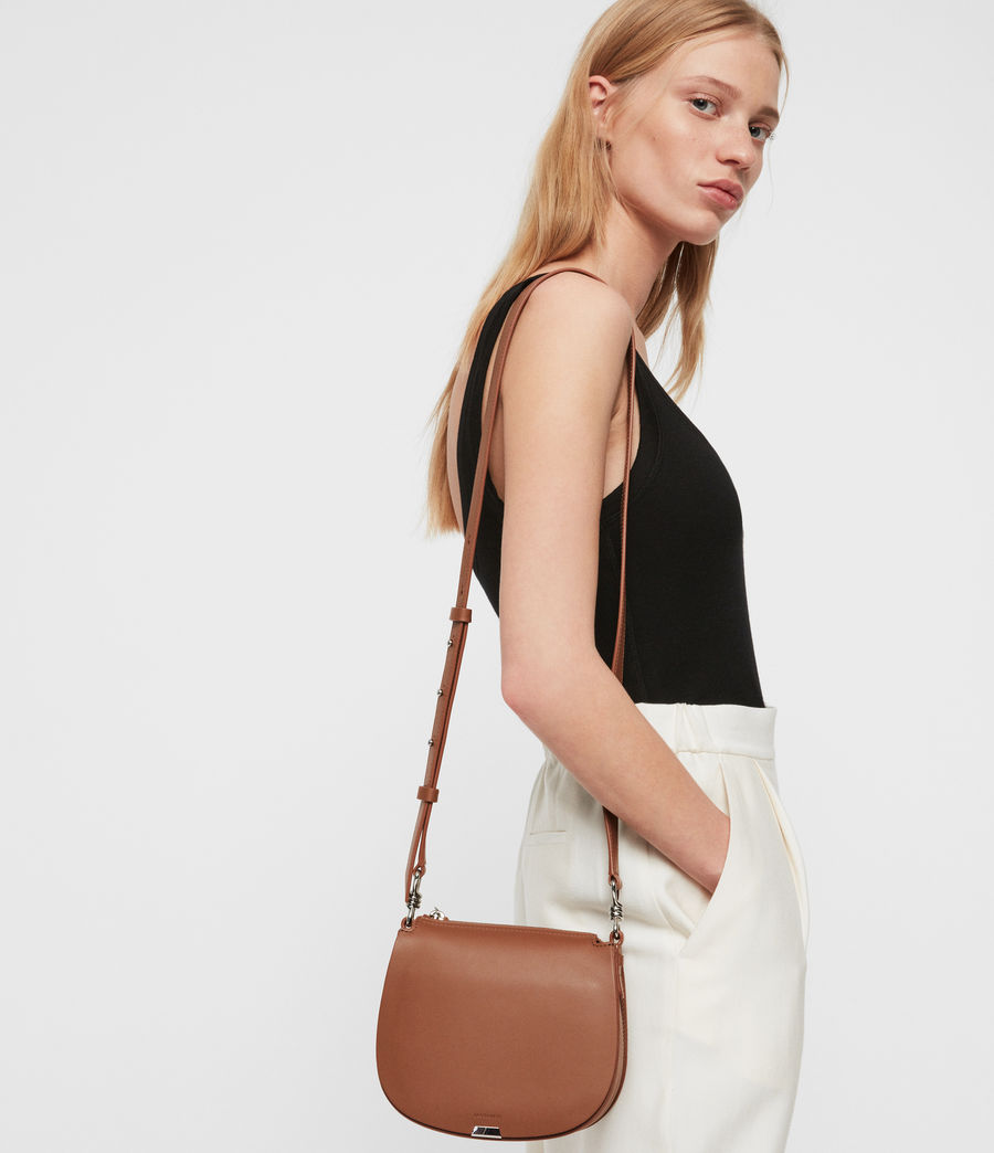 Women's Captain Leather Small Round Crossbody Bag (chocolate_brown) - Image 1