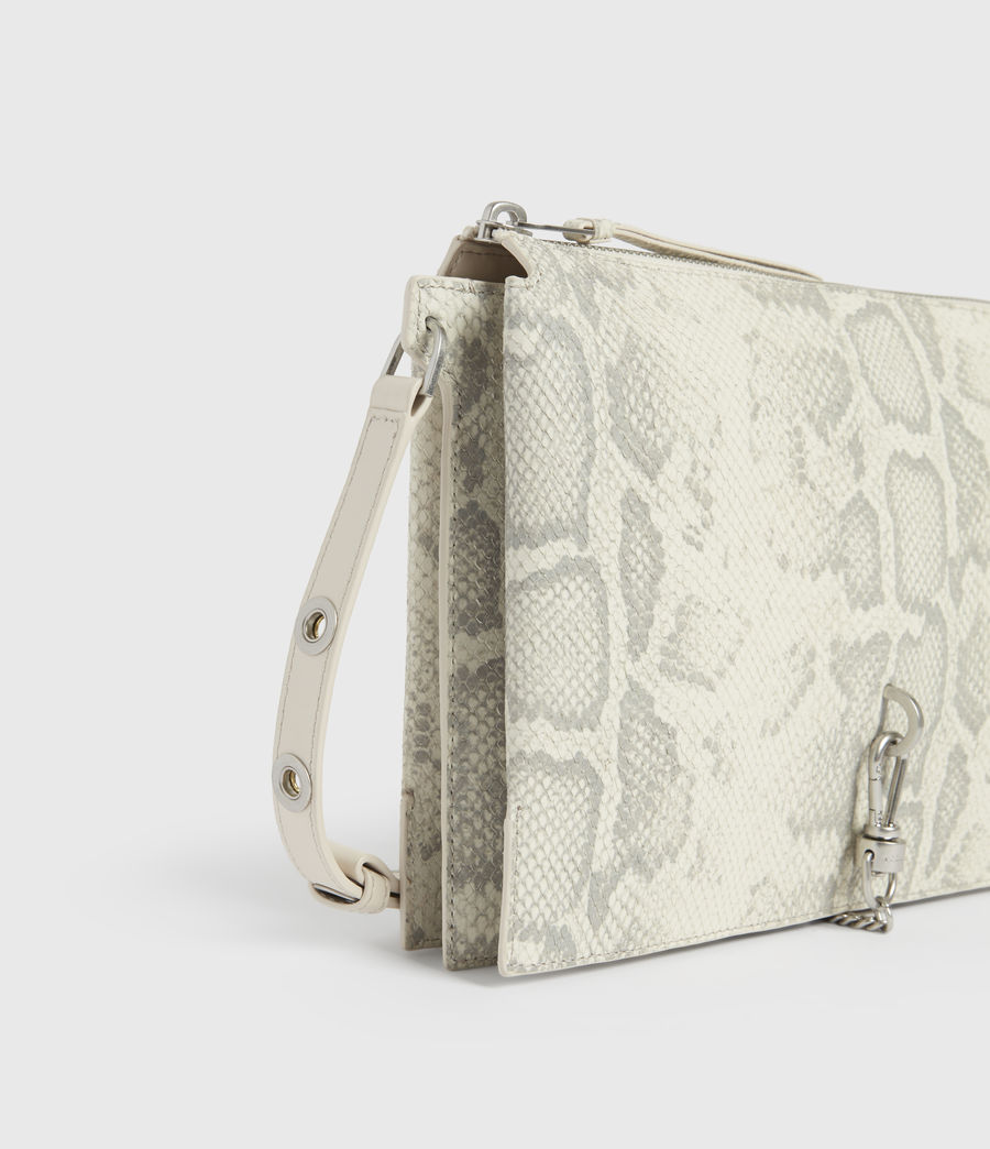 Women's Sheringham Leather Snake Shoulder Bag (chalk_white) - Image 3