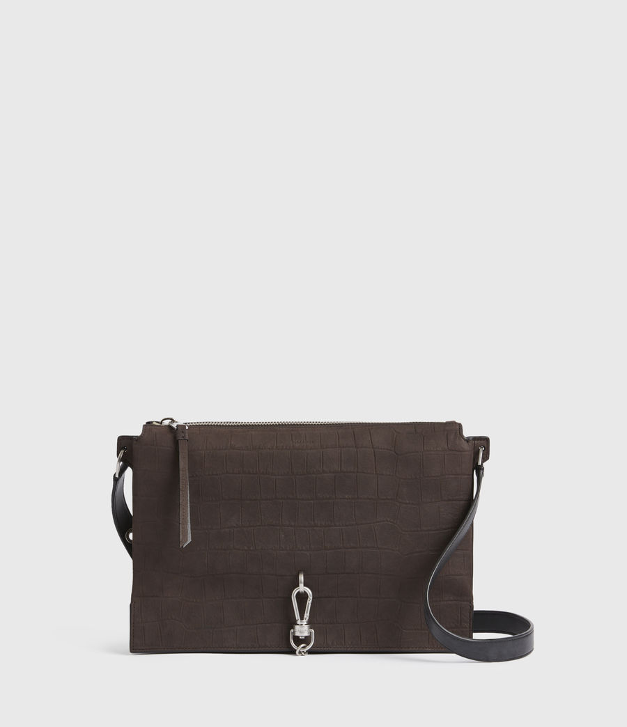 Damen Sheringham Crocodile Suede Shoulder Bag (peat_brown) - Image 2