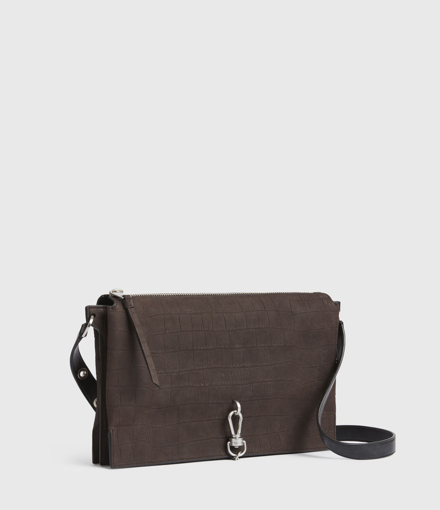 Damen Sheringham Crocodile Suede Shoulder Bag (peat_brown) - Image 4