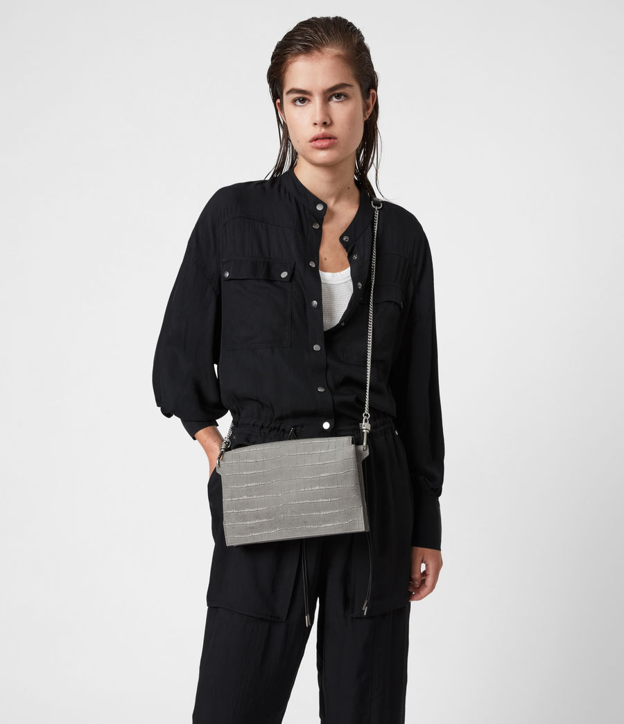 Women's Fletcher Suede Crossbody Bag (mist_grey) - Image 1