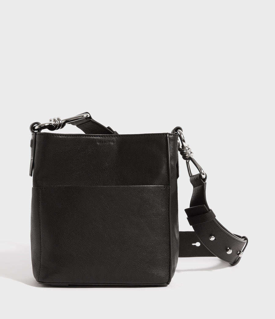 Women's Tower Leather Crossbody Bag (black) - Image 1
