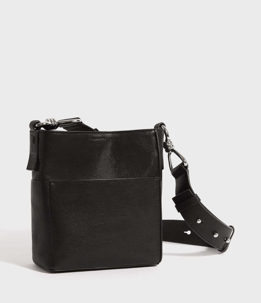 Women's Tower Leather Crossbody Bag (black) - Image 2