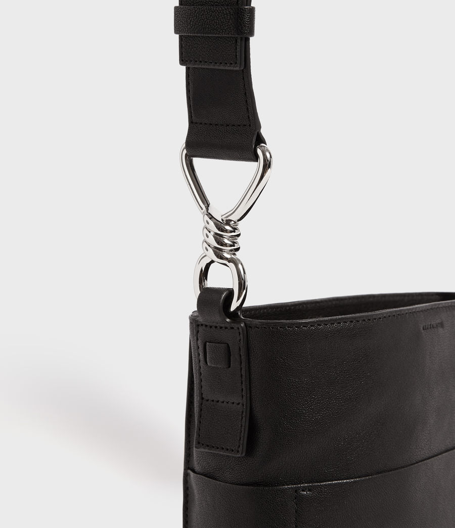Women's Tower Leather Crossbody Bag (black) - Image 4