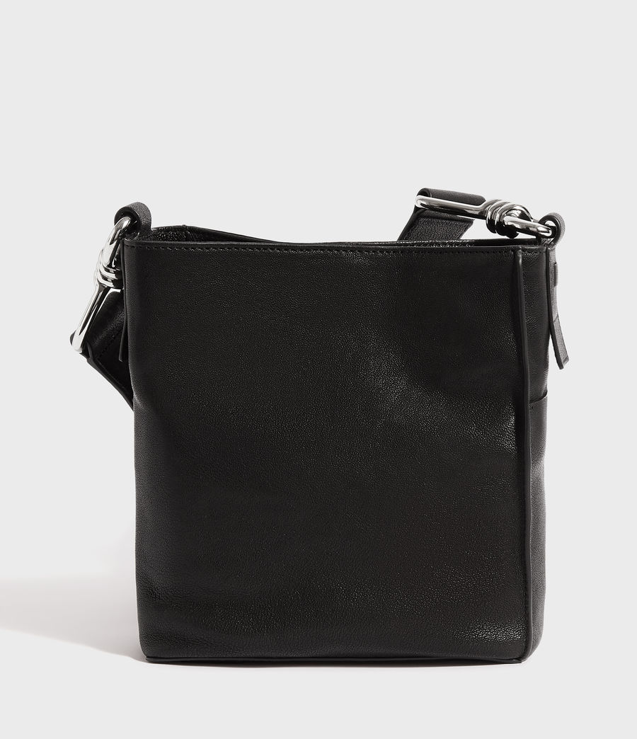 Women's Tower Leather Crossbody Bag (black) - Image 6