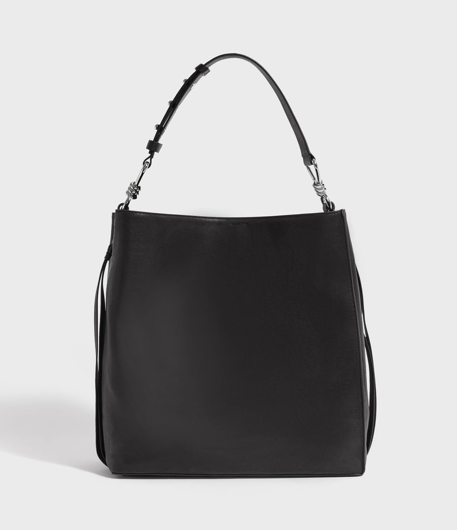 Women's Tower Leather North South Tote Bag (black) - Image 1