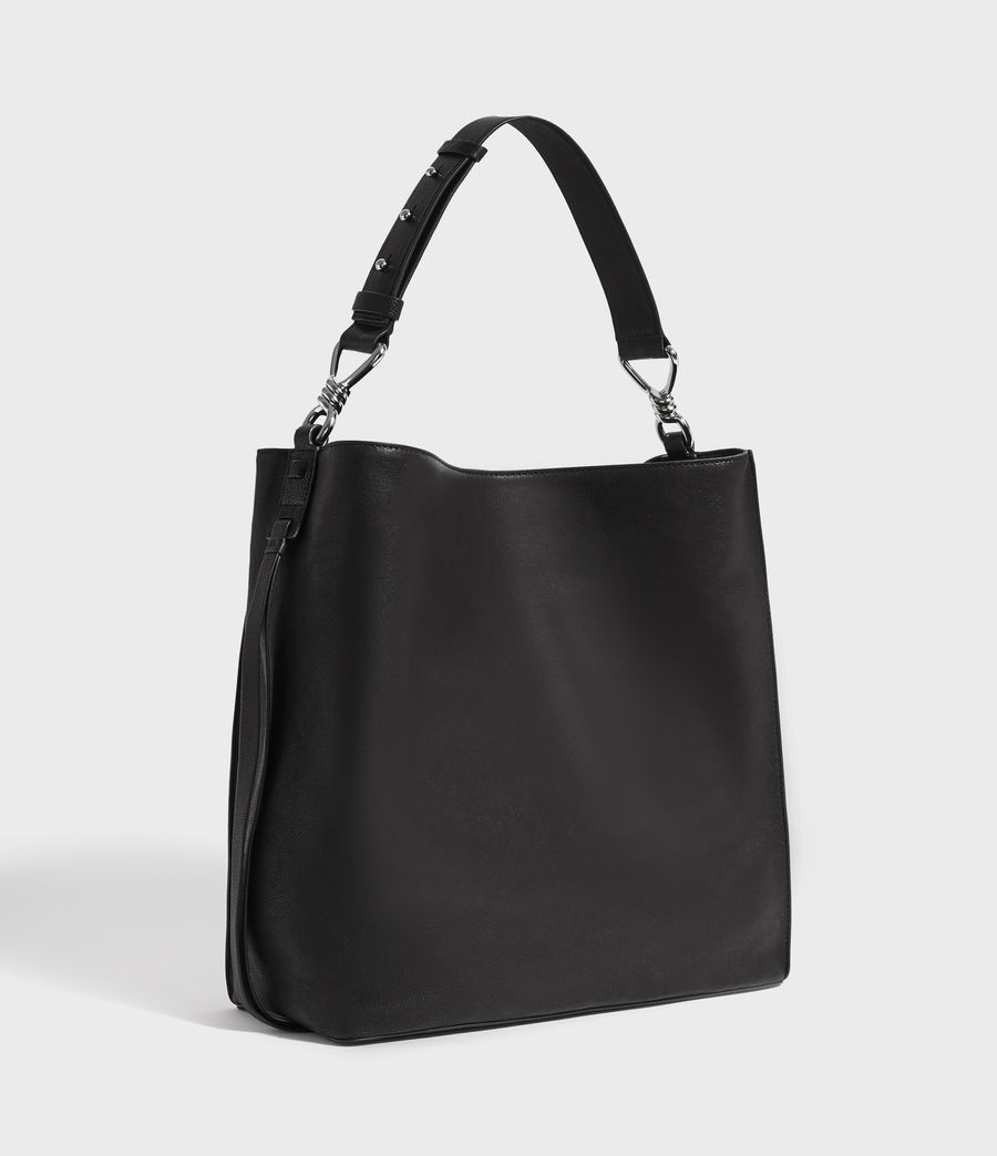 Women's Tower Leather North South Tote Bag (black) - Image 2