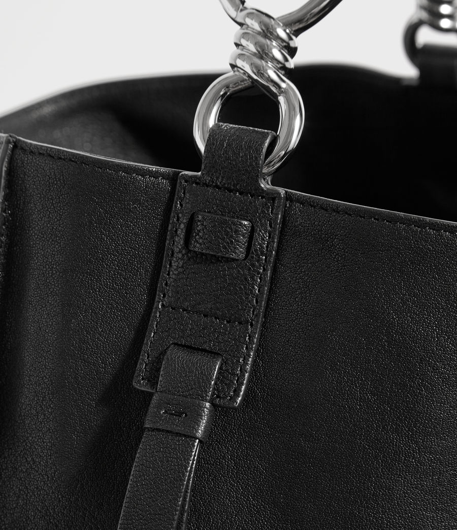 Women's Tower Leather North South Tote Bag (black) - Image 4
