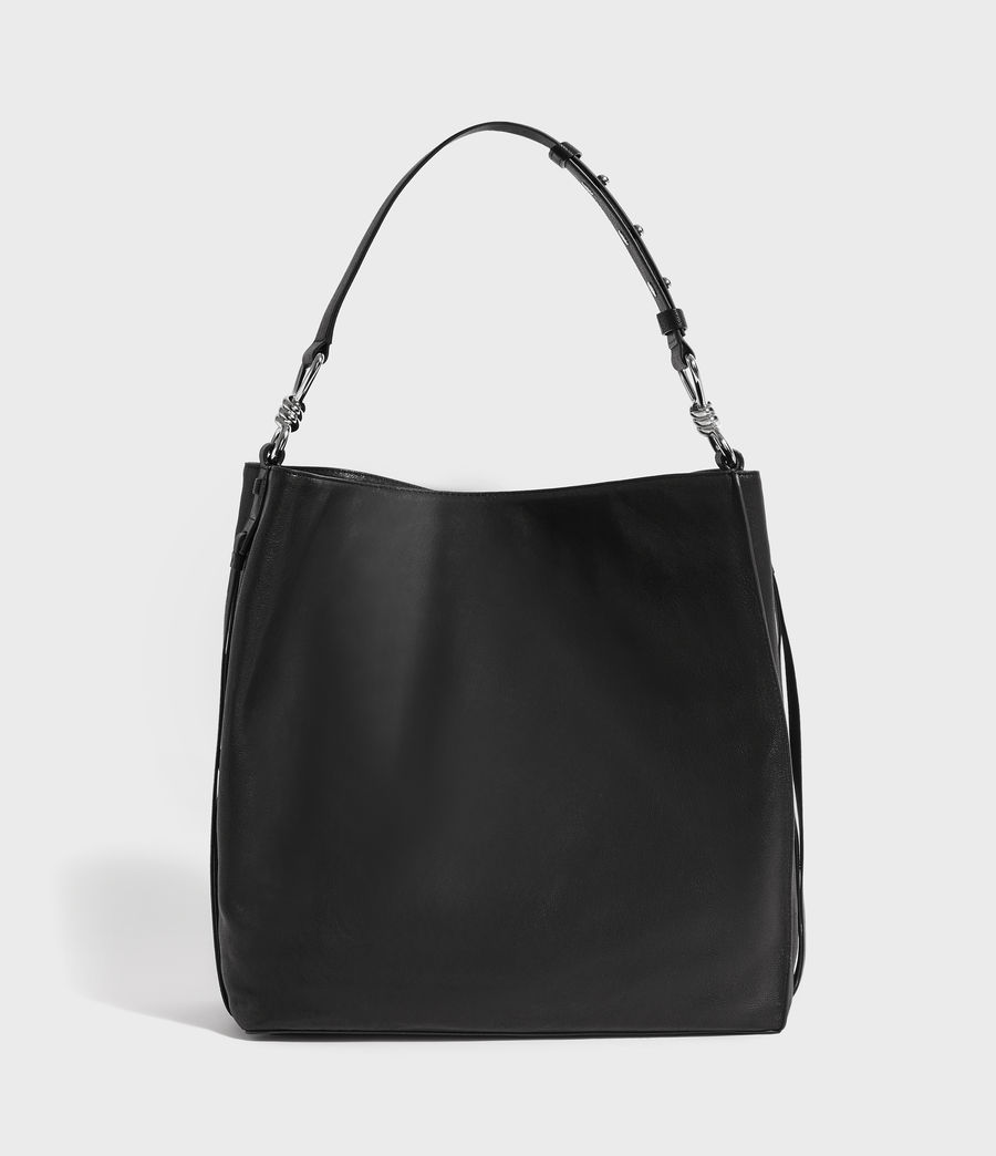 Women's Tower Leather North South Tote Bag (black) - Image 6
